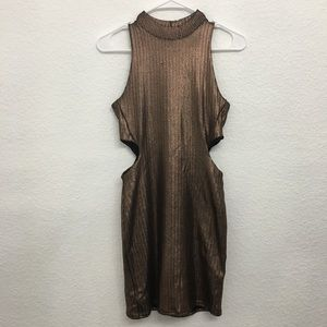 Strapless and waistless rose gold dress